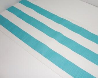 Ocean Blue/White Stripe Table Runner Table Top Runner Wedding Table Runner 12x72