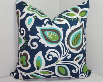 OUTDOOR Pillow Cover Navy Blue Green Floral Pillow Cover Deck Patio Pillow Cover Choose size