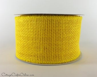 "CLEARANCE!! Burlap Wired Ribbon, 2 1/2"" Yellow  Natural Jute, Imperfect - EIGHT & 7/8 YARDS - #70223 Craft Wire Edged Ribbon"