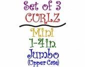 CURLZ FONT - Set of 3 - Mini, Regular 1-4in. Size and Upper Case Jumbo