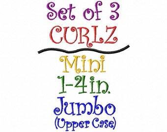 CURLZ FONT - Set of 3 - Mini, Regular 1-4in. Size and Upper Case Jumbo