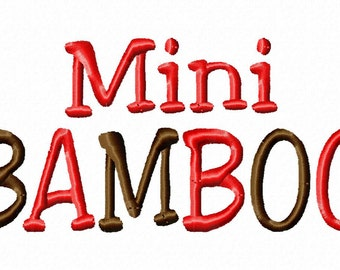 Mini Bamboo - .5in. (half inch) - Machine Embroidery Font - BUY 2 get 1 FREE - Mini Fonts