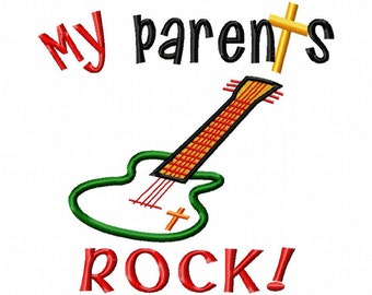 My Parents ROCK - Guitar Applique- Machine Embroidery Design - 6 Sizes