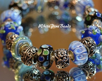 European Charm Bracelet Blue Handmade with  Murano Glass Lampwork Beads
