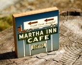 Martha Inn Cafe truck, sign, vintage, cafe, washington, neon, trucker, travel, stop, wall art, photo, photography, bamboo, picture, art,