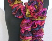 """Ruffle lace soft scarf hand knit multicolored  with silver shiny +60"""" long"""