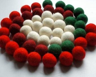 100% Wool Felt Balls, multicolor shades, 50 pcs, 1 inch (2.3 cm), pure wool, Mix Christmas
