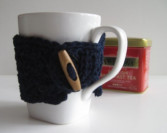 Crochet Mug Cup Cozy - Navy Blue with Wood Toggle Button