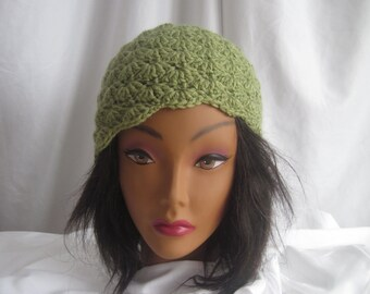 Hat Womans Crochet Hat Pale Olive Green Stylish, Chic, Trendy and Lacy Cap Handmade Fashion Accessory