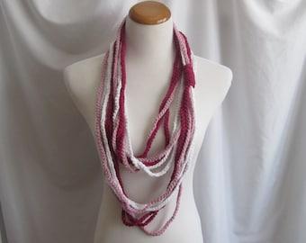 Infinity Crochet Scarf Cowl Cotton Necklace -  Dark Raspberry, Light Raspberry & White