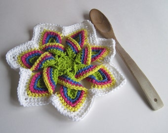 Crochet Flower Trivet Hot Pad - Bright Green, Pink, Blue, Yellow with White