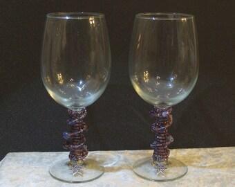 Set of 2 Purple Beaded Wine Glasses