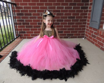 The Hair Bow Factory Cheetah and Pink Feather Tutu Dress Size 12-18 Months to Size 12