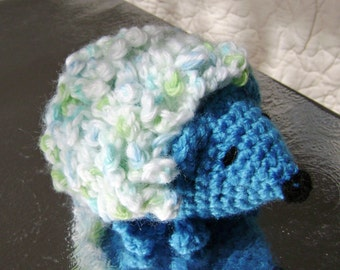 Curly the Hedgehog Crocheted Stuffed Amigurumi Toy blue ready to ship