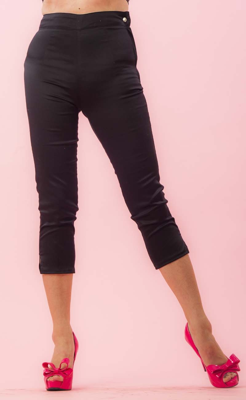 Side Zip Capri Pants Black Twill Retro / Rockabilly / Vintage