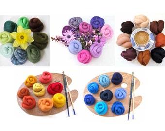 Bumper Merino Wool Roving Color Palette, Wool Roving, Needle Felting, merino wool roving, spinning wool, needle felters palette, felting