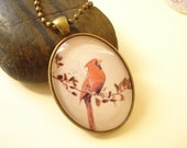 Bird Handmade Photo Glass Cabochon Necklace NC338