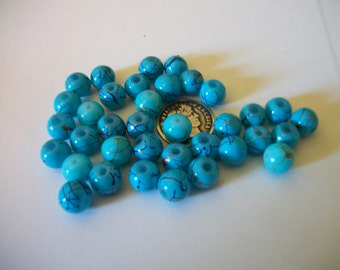 12 Turquoise Dichroic Glass Beads 7mm