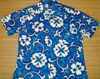 Mens Vintage 70s Kings Road Mod Floral Hawaiian Aloha Shirt - L - The Hana Shirt Co
