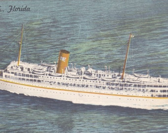 S.S. Florida - Vintage Linen Postcard - Unused (V)