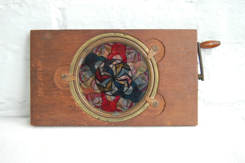 antique magic lantern slide kaleidoscope moveable glass slide. Black Bedroom Furniture Sets. Home Design Ideas