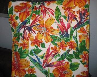 "14"" x 14"" PILLOW COVER - Happiness Sunny Day Hawaiian Hibiscus Bird of Paradise Flower Garden"
