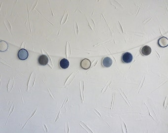 Bunting - grey blue white - circles - recycled cotton yarn - handmade crocheted - decoration - garland