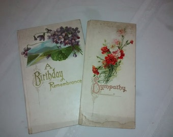 Two Victorian Booklets , Antique Birthday Book , Antique Sympathy Card