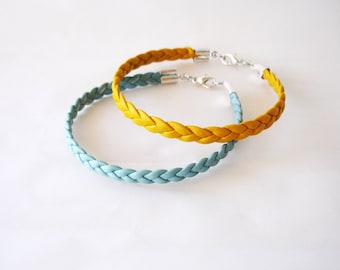 Mint leather bracelet, Mint braided bracelet, Aqua mint bracelet, Minimal bracelet, Stacking bracelet Leather rope bracelet Seafoam bracelet