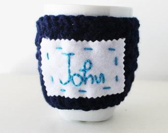 Personalized cup cozy, Custom name mug cozy, Personalized gift, Crochet coffee cozy, Personal crochet cup cozy, Custom name mug warmer