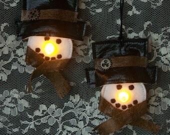 Adorable Steampunk Snowman Tea Light Ornaments