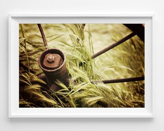"Country Farm Photography Unframed / rust wagon wheel field tall grass wheat brown green yellow farm field / photography print / ""Rest Stop"""