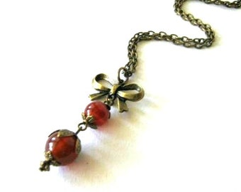 Carnelian necklace bow jewelry antique brass bronze victorian vintage style