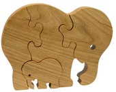 Wooden Puzzle Elephant with Baby Elephant for children and toddlers