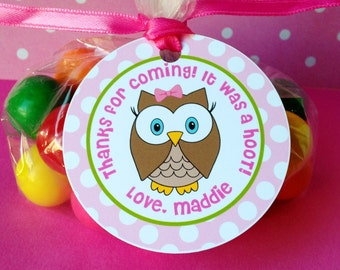 12 Look Whoo's One Birthday Party Favor Tags