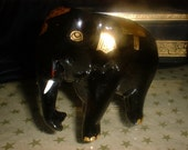 Lacquerware Elephant with Tusks and Gold Embellishments