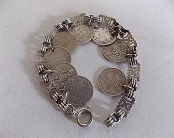 Victorian Vintage Silver Fancy Coins Bracelet