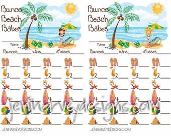 Bunco Beach Babes Score Card
