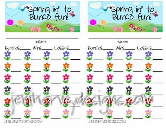 Spring Bunco Score Card