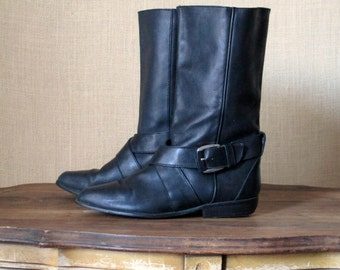 Black Leather Riding Boots Vintage 80s moto boots mid calf high fashion hipster silver buckle strap equestrian womens size 7 Enzo Angiolini