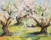 """Cherry Blossoms original oil painting, Rona Poss, 8"""" x 8"""" painting, Spring painting"""