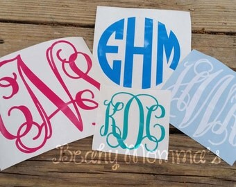 Personalized Car Decal Vinyl Sticker Monogram of Your Choice In Your Size