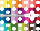 Polka Dot Digital Scrapbook Paper  --  Rainbow Polka Dot X-Large Apart -- INSTANT DOWNLOAD