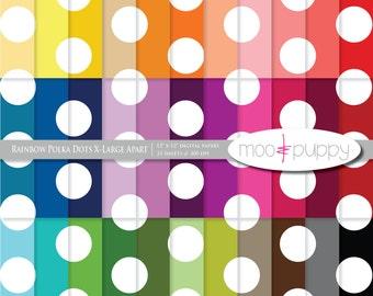 Polka Dot Digital Scrapbook Paper  --  Rainbow Polka Dot X-Large Apart -- INSTANT DOWNLOAD