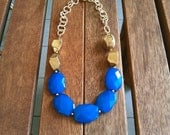 Blue Gold Statement Necklace, Chunky Gold necklace, Bib necklace, Cobalt blue necklace, Blue Bubble necklace