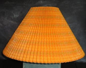 covered pleated lampshade lamp shade striped orange green coolie shape. Black Bedroom Furniture Sets. Home Design Ideas