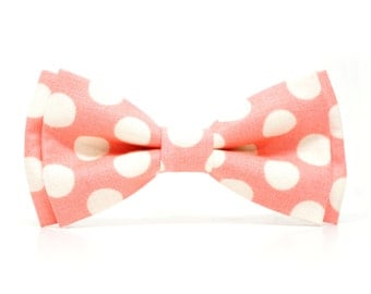Cream Polka Dot in Coral Bow Tie for all ages - Pre-tied bowtie - ring bearer, wedding day, photo prop, church or special occasion