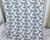 Arctic fox Organic Baby Blanket: White Fox printed on Grey Cotton Jersey knit with cream Poly Fleece blanket.