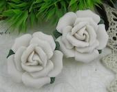 2 pcs   Ceramic Rose Flower 34 mm,White