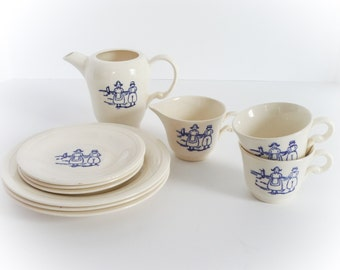 Edwin Knowles Childs Tea Set Dutch Scene Made in USA 10 Pieces